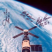 Bill Pogue, Ed Gibson and Jerry Carr Autographed Crew NASA Lithograph