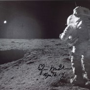 Edgar Mitchell Autographed Black & White Moon-Walking Print