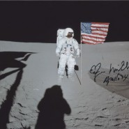 Edgar Mitchell Autographed Moon-Walking Print