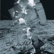 Edgar Mitchell Autographed Moonwalking Print