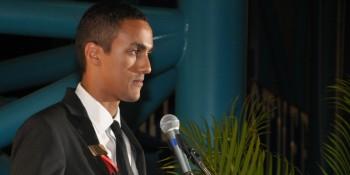 Astronaut Scholar Daniel Araya speaks during 2013 AHOF Gala